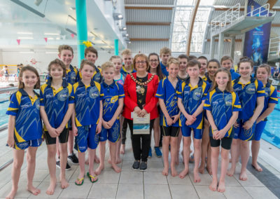 CASC swimmers with the Mayor Cllr Julie Riley