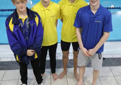 Swimmers selected to swim at Sheffield for the County(National County Team Champs) L to R : David Gillespie, Archie Evans, Louis Mitchell, Caleb O'Brien