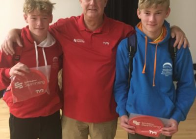 Regional Swim Camp England Talent Camp age 13/14- phase 2 invited swimmers from CASC - David Gillespie and Archie Evans with Mike Parker Talent Camp Director.